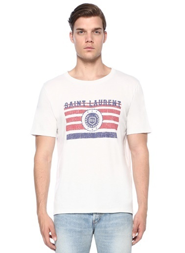 Saint Laurent Tişört Beyaz